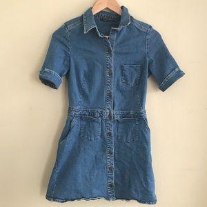 Zara Trafaluc Denim Jumper Button Front Dress M